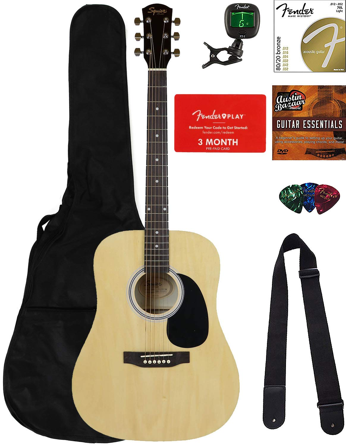 Fender Squier Dreadnought Acoustic Guitar - Natural Bundle with Fender Play Online Lessons, Gig Bag, Tuner, Strings, Strap, Picks, and Austin Bazaar Instructional DVD by Fender