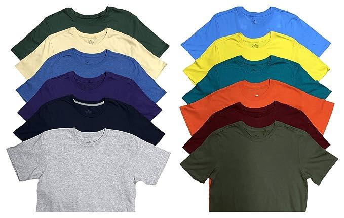price good selling fashion SOCKS'NBULK Mens Cotton Crew Neck Short Sleeve T-Shirts Mix Colors Bulk  Pack Value Deal