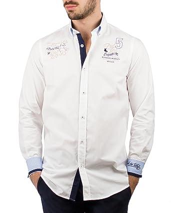 Piel de Toro Regular FIT Bordados Mundo Contrastes Camisa Casual ...
