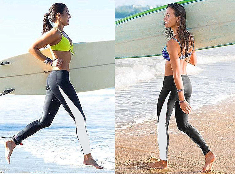 EUROWELL Donna Leggings Sport Pantaloni Leggings da Surf da Donna Bagno da Costumi Sportivi Yoga Fitness Palestra Slim Fit Lunghi Protezione Elastica UV Swimwear