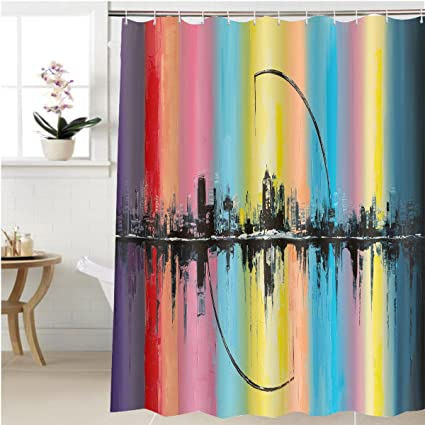 Gzhihine Shower Curtain Original Oil Painting On Canvas Arc Of The Sun Bathroom Accessories 69 X
