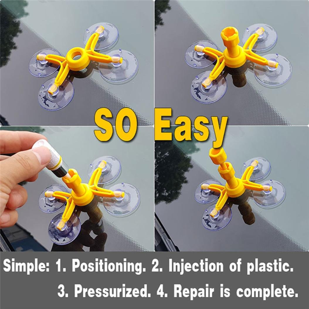 Yeefant 1 Set Windscreen Windshield Repair Tool Set DIY Car Wind Glass Kit For Chip Crack by Yeefant Car Accessories (Image #3)