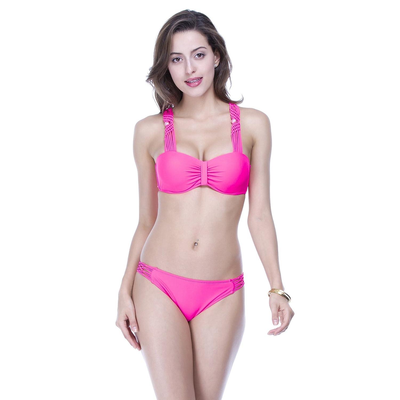 3XL 46 rouge  ZQ@QX Ladies été maillot de bain Europe et Le Maillot de Bain Solide tricoté à la Main Perles Accessoires Bikini MesLes dames