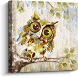 Pigort Green Cute Curious Owl Painting Thick Wrapped Canvas Art Living Room and Bedroom Wall Decor