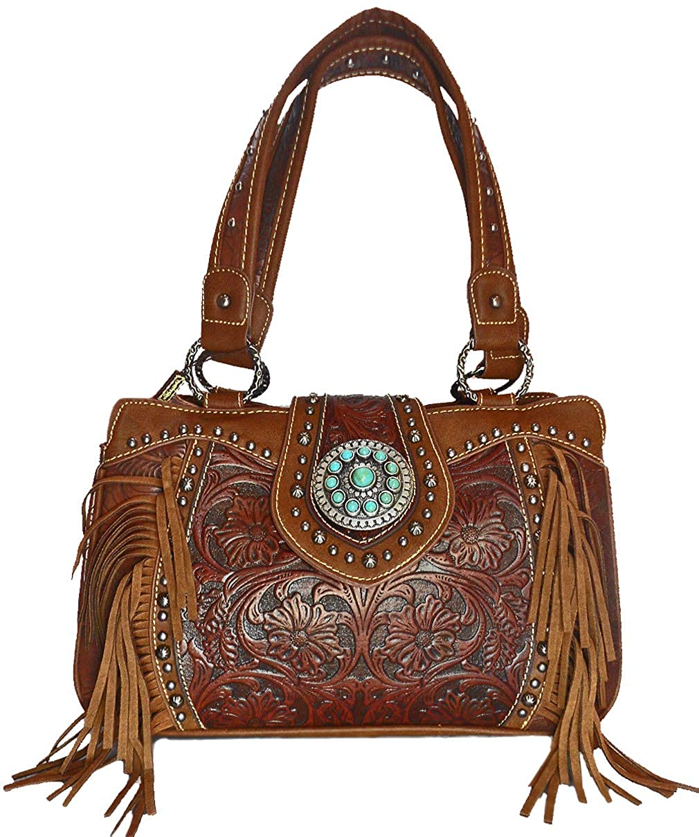 Brown Trinity Ranch Floral Tooled Satchel w Leather Fringe
