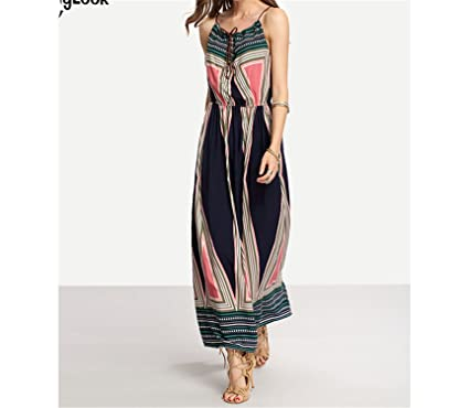 Amazon.com: Twilaisaac Fashion Elegante Geo-Tribal Imprimir Amarrado Frente Cami Vestidos Femininas de Cintura Alta Maxi Vestido Plus Size S-XL: Clothing