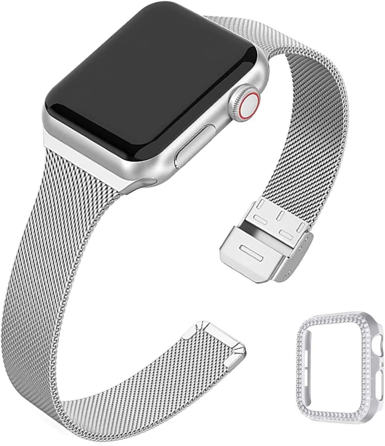 QVLANG Compatible Apple Watch Band 38mm Series 3/2/1, Stainless Steel Mesh Metal Soft Thin Replacement Wristband for Women + Bling Case for iWatch (Silver, 38mm)