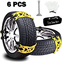 $41 » Buyplus Snow Tire Chains for Cars - 6 Sets Adjustable Anti Slip Emergency Tire Straps, Cars…