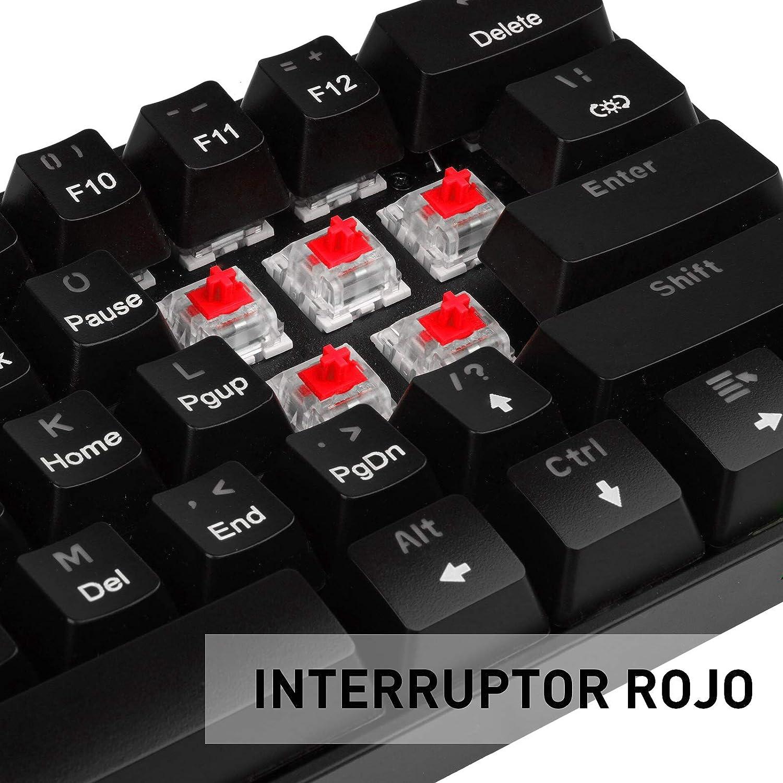 havit Teclado mecánico Gaming Español Teclados Gaming con Cable, Rojo Anti-Efecto Fantasma de 62 Teclas para Juegos y Trabajo,Negro