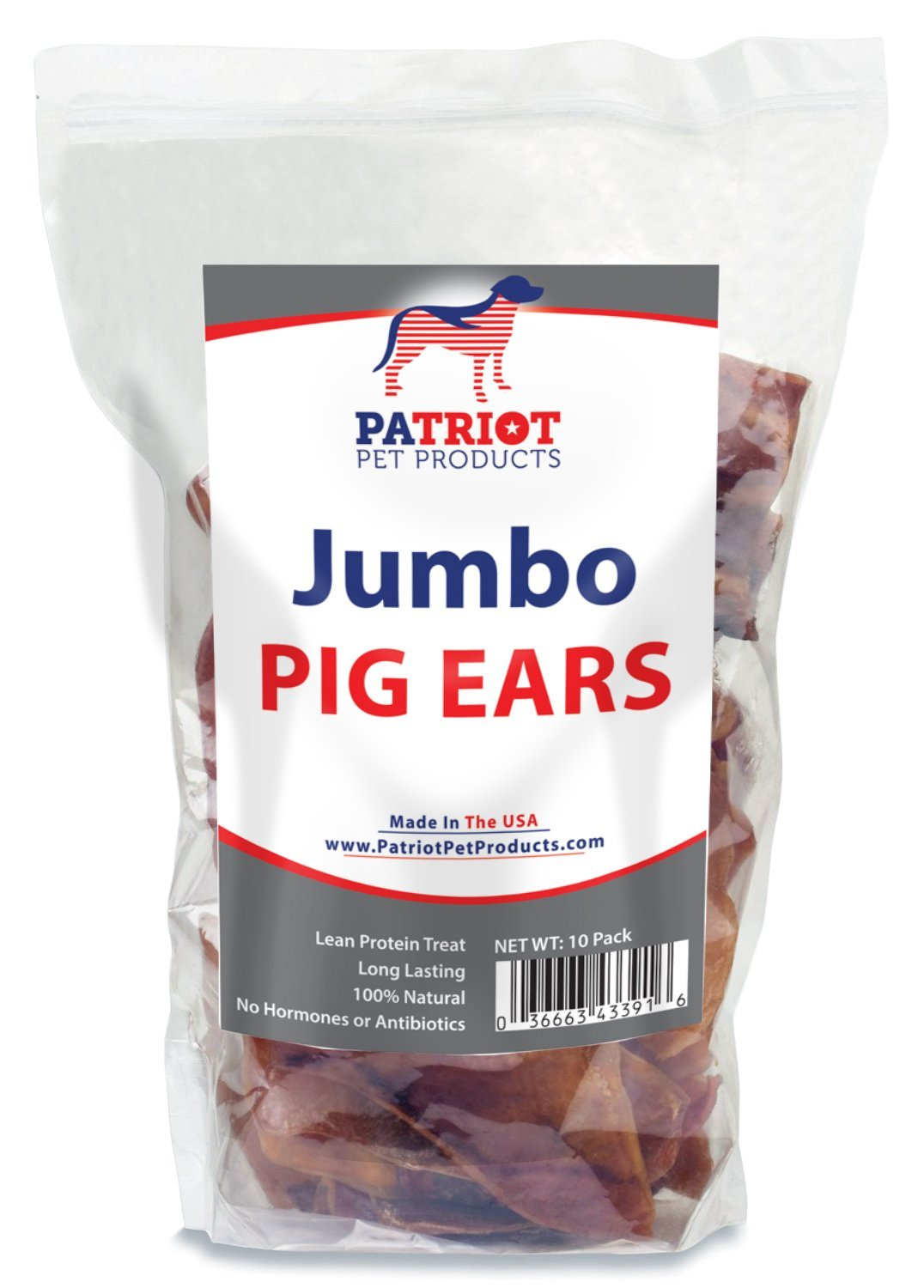 Patriot Pet Jumbo Pig Ears for Dogs 10 pack - Quality All Natural USA Chews - Generous Sized Delicious Pigs Ear - Great Reward or Treat - No Preservatives or Harmful Chemicals - USDA Approved