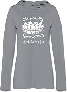 product image for Soul Flower Namaste Organic Cotton Recycled Women's Cowl Neck Yoga Hoodie, Grey Ladies Graphic Long Sleeve Tunic