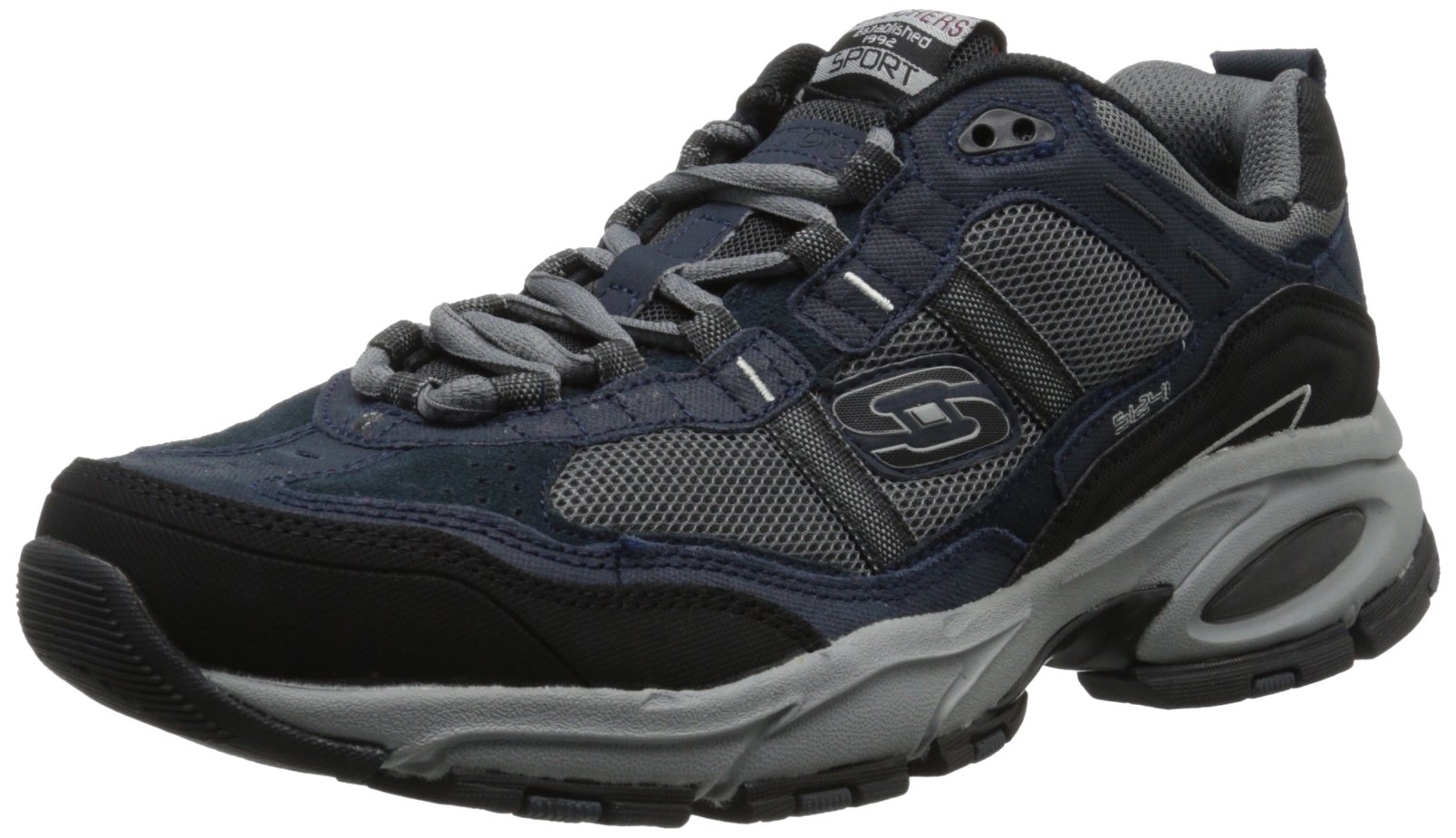 Skechers Sport Men's Vigor 2.0 Trait Memory Foam Sneaker, Navy/Grey, 10 M US by Skechers