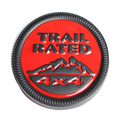 WildAuto Jeep Trail Rated Badge Emblem Badge for Jeep Wrangler (1pc, Red+Black): Automotive