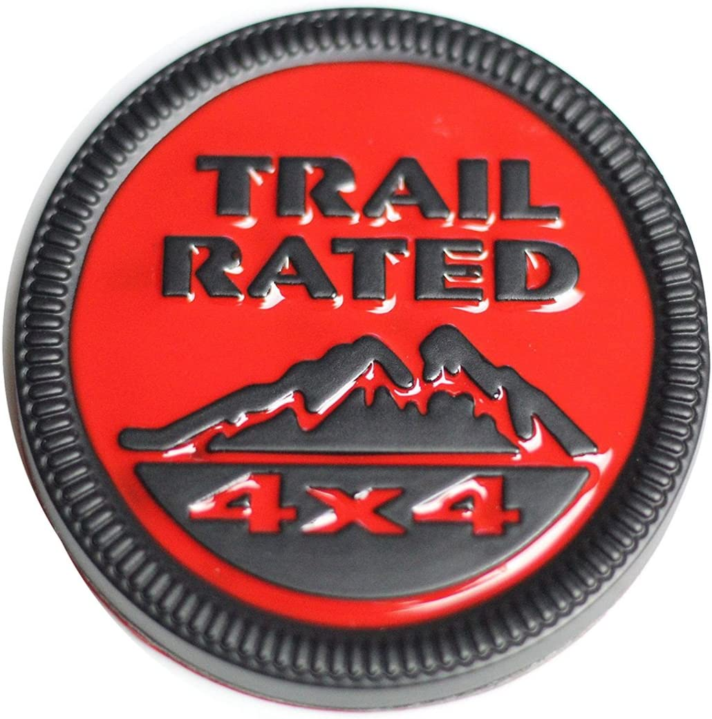 """Used Jeep /""""Trail Rated 4x4/"""" Emblem OEM Red//Silver"""