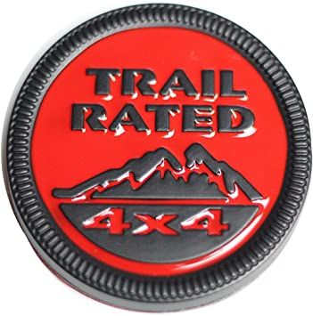 3D Chrome Black Metal TRAIL RATED 4x4 Rear Lid Badge Round Side Emblem for Jeep
