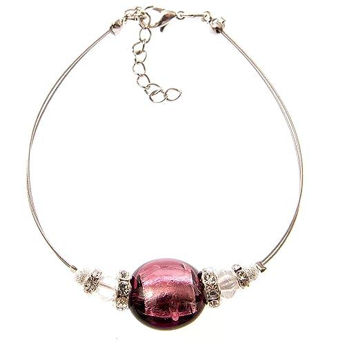 d310722d6de7 Pulsera de moda de cristal de Murano  quot New York quot  - amethist-plata