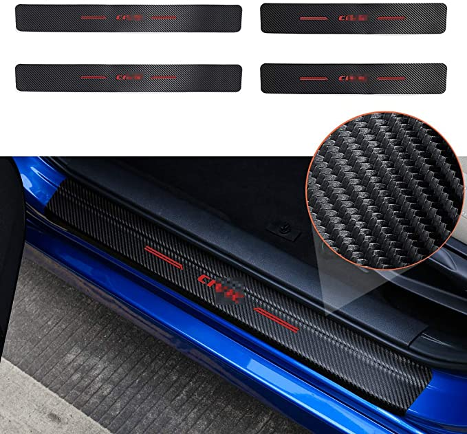 for Honda Ridgeline Door Sill Protector Kick Plates Pedal Threshold Cover Carbon Fiber Anti-Scratch Anti-Slip Car Decoration Accessory