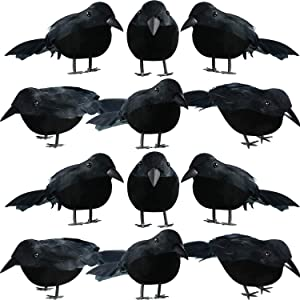12 Pieces Halloween Black Feathered Small Crows Black Birds Ravens Props Decor Realistic Looking Halloween Decoration Birds