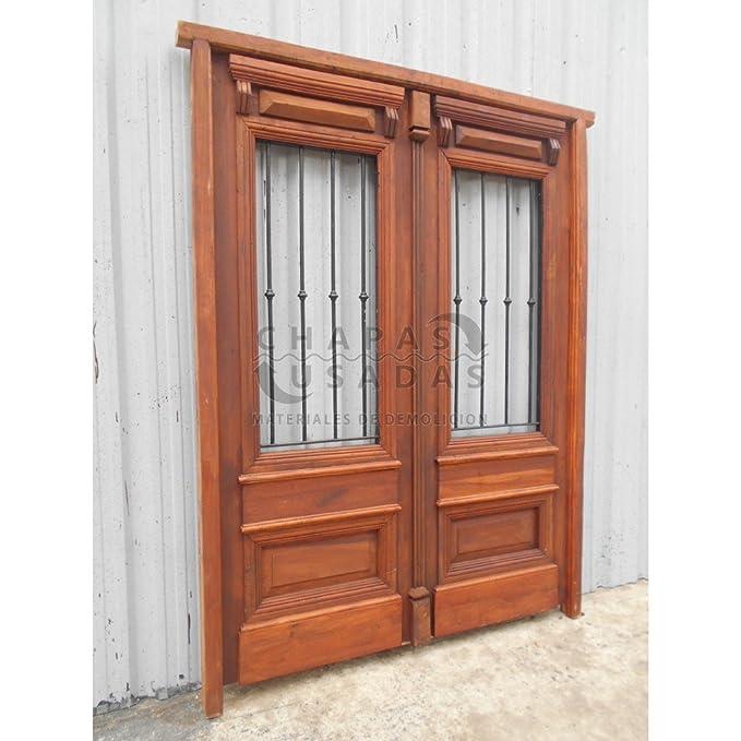 Puerta de entrada de madera antigua con rejas de hierro forjado - - Amazon.com