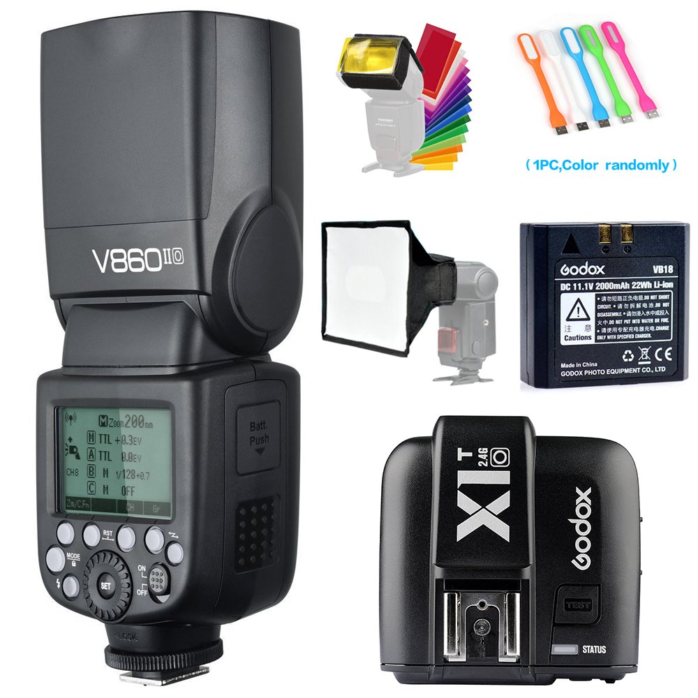 Godox V860II-O TTL GN60 2.4G High-Speed Sync 1/8000s Li-ion Battery Camera Flash Speedlite+Godox X1T-O Wireless Trigger Transmitter for Olympus Panasonic+15x17cm Softbox & Filter +USB LED Free gift