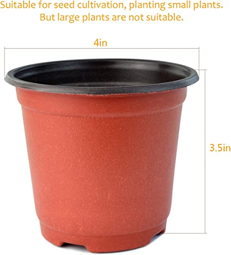 Yookat 100 Pcs 4 Inch Plastic Plants Nursery Pot//Pots Seedlings Flower Plant ...
