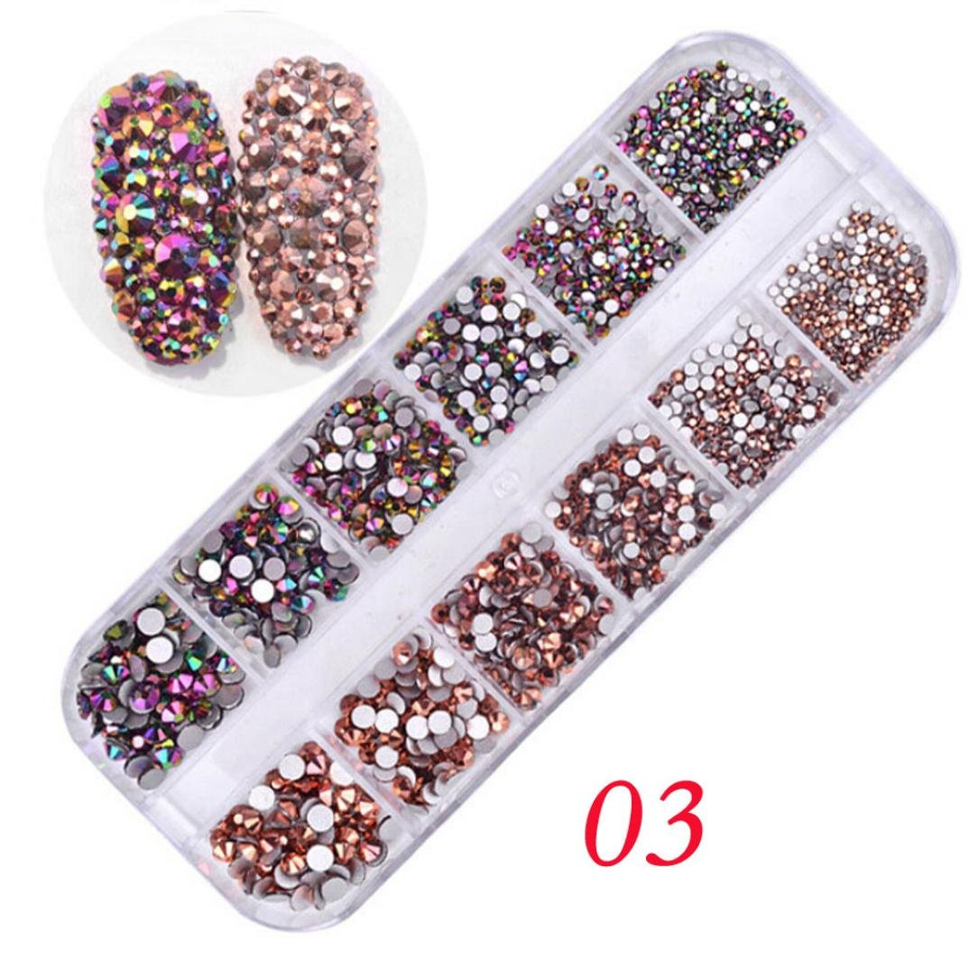 LiPing 12LatticesGlittering Drill Nail Multicolor French DIY Decoration Nail Art Sticker Tip Nail Sticker Sequins Colorful DIY Nail Art Decoration Tool (C)