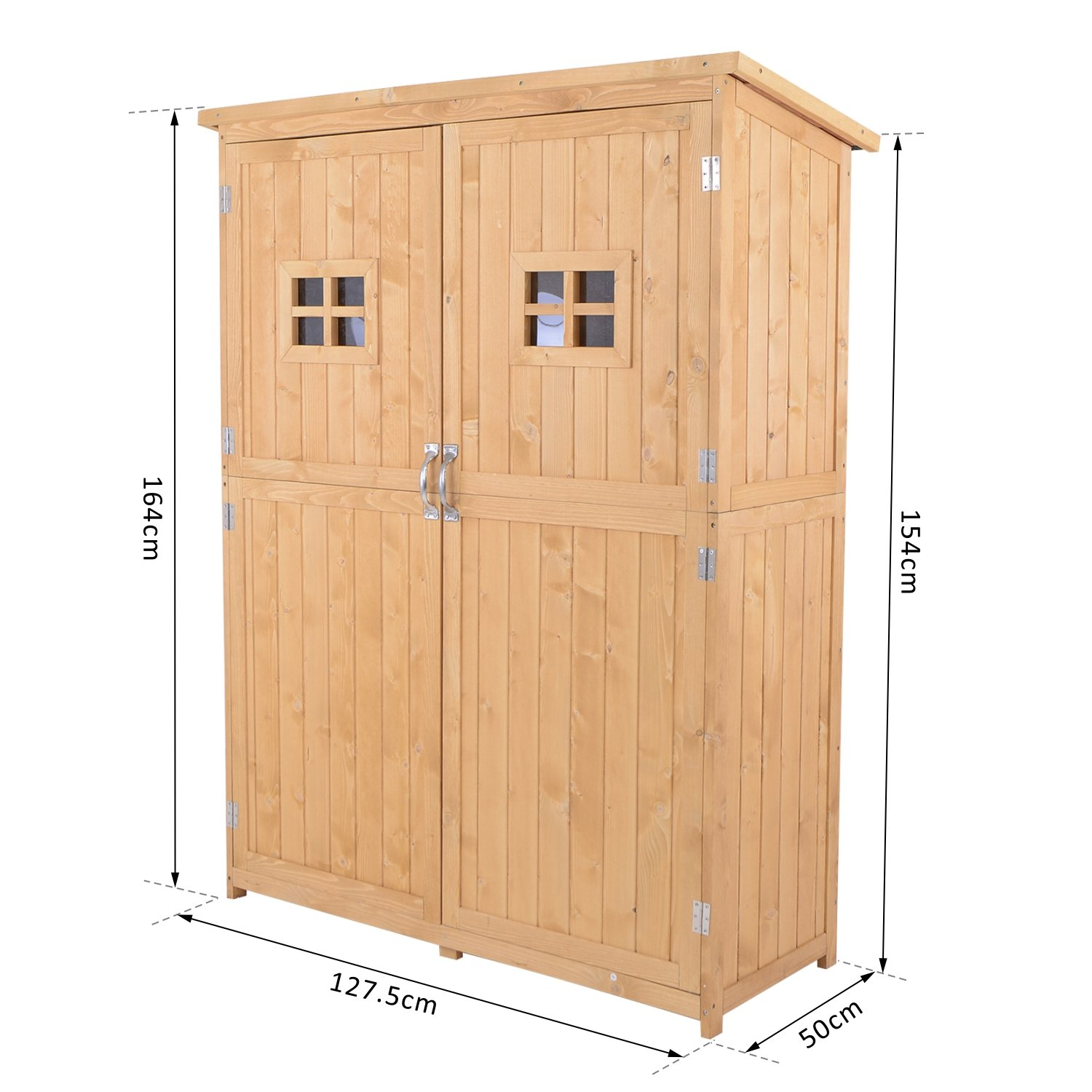 Outsunny wooden garden shed tool double door natural wood for Name something you keep in a garden shed