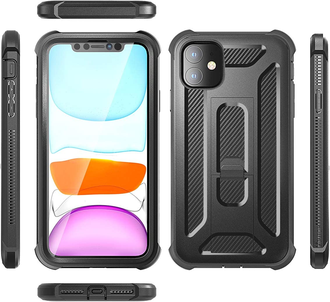 Purple Dexnor iPhone 11 Case with Screen Protector and Kickstand Military Grade Shockproof Armor Heavy Duty Dual Layer 360 Full Body Protective Rugged Cover Bumper Case for iPhone 11 6.1 inch