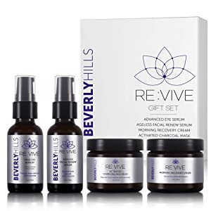 Skin Care Set for Women - Tired Eye Remedy, Anti Aging Serum for Face, Charcoal Face Mask, and Day Cream