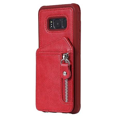 Stand-Funktion mit Kartenfach und Handschlaufe Samsung Galaxy S8 Rose Rot Handyh/ülle Bling Slim Rei/ßverschluss Leder Schutzh/ülle Flipcase Yobby Glitzer Brieftasche H/ülle f/ür Samsung Galaxy S8
