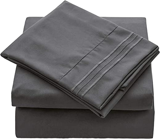 VEEYOO Sheet Set - Wrinkle Free Hypoallergenic Bed Sheets Set - Hotel Quality Extra Soft Bedding Set Deep Pockets Pillow Case and Sheet Set - 4 Piece, Super King, Charcoal: Amazon.co.uk