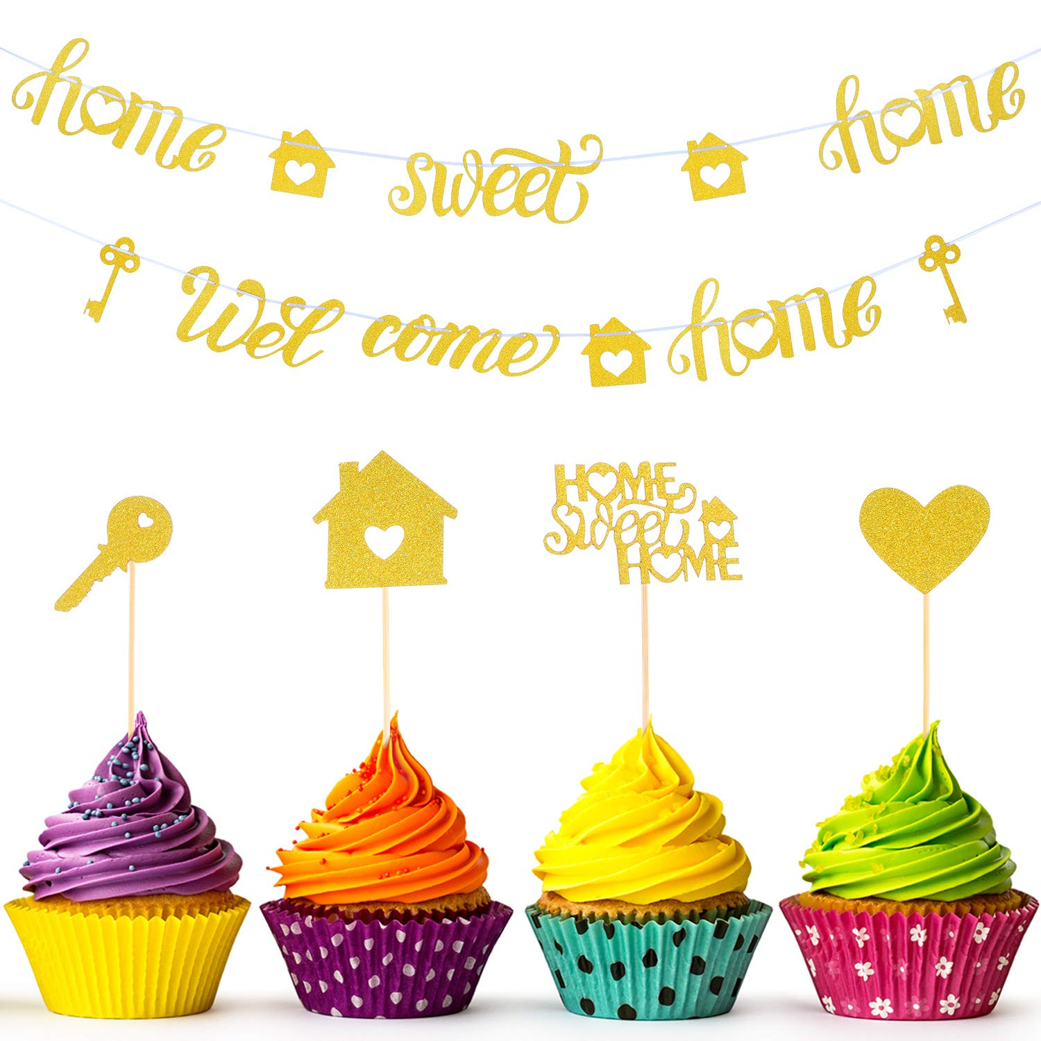 55 Pieces Sweet Home Cupcake Toppers and 2 Pieces Welcome Home Banner Home Sweet Home Banner for House Warming Party Decoration Supplies