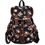 Lt Tribe Casual Floral Canvas Rucksack School College Backpack for Girls