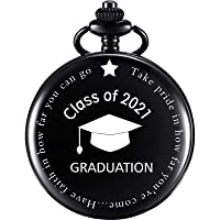 Pocket Watch Personalized Engraved Graduation Pocket Watch Graduation Gift Class of 2021 Graduation Gift with Storage Box (Black)
