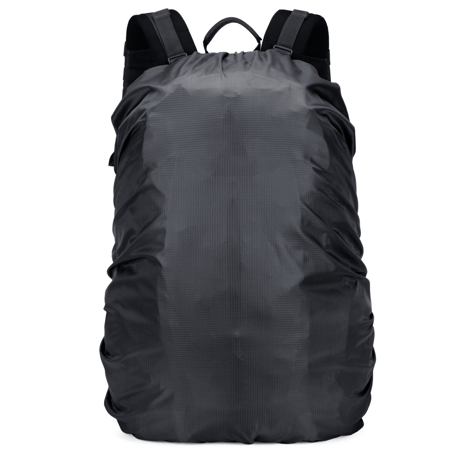OMERIL Backpack Raincover Waterproof Rucksack Bag Rain Cover for School Hiking Camping Traveling/Cycling /Climbing/Riding /Outdoor Activities (Black, Size L: 55-60L)