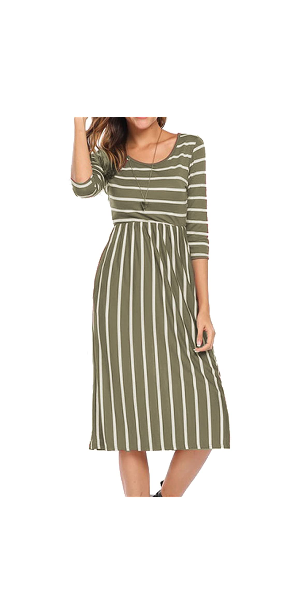 Women's   Sleeve Stripe Elastic Waist Casual Dress With
