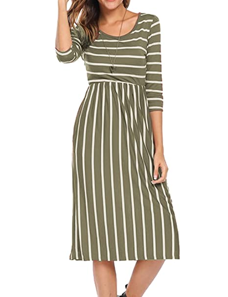 73596e9a341 Halife Womens 3 4 Sleeve Striped Flare Swing Slim Casual Party Dress Army  Green