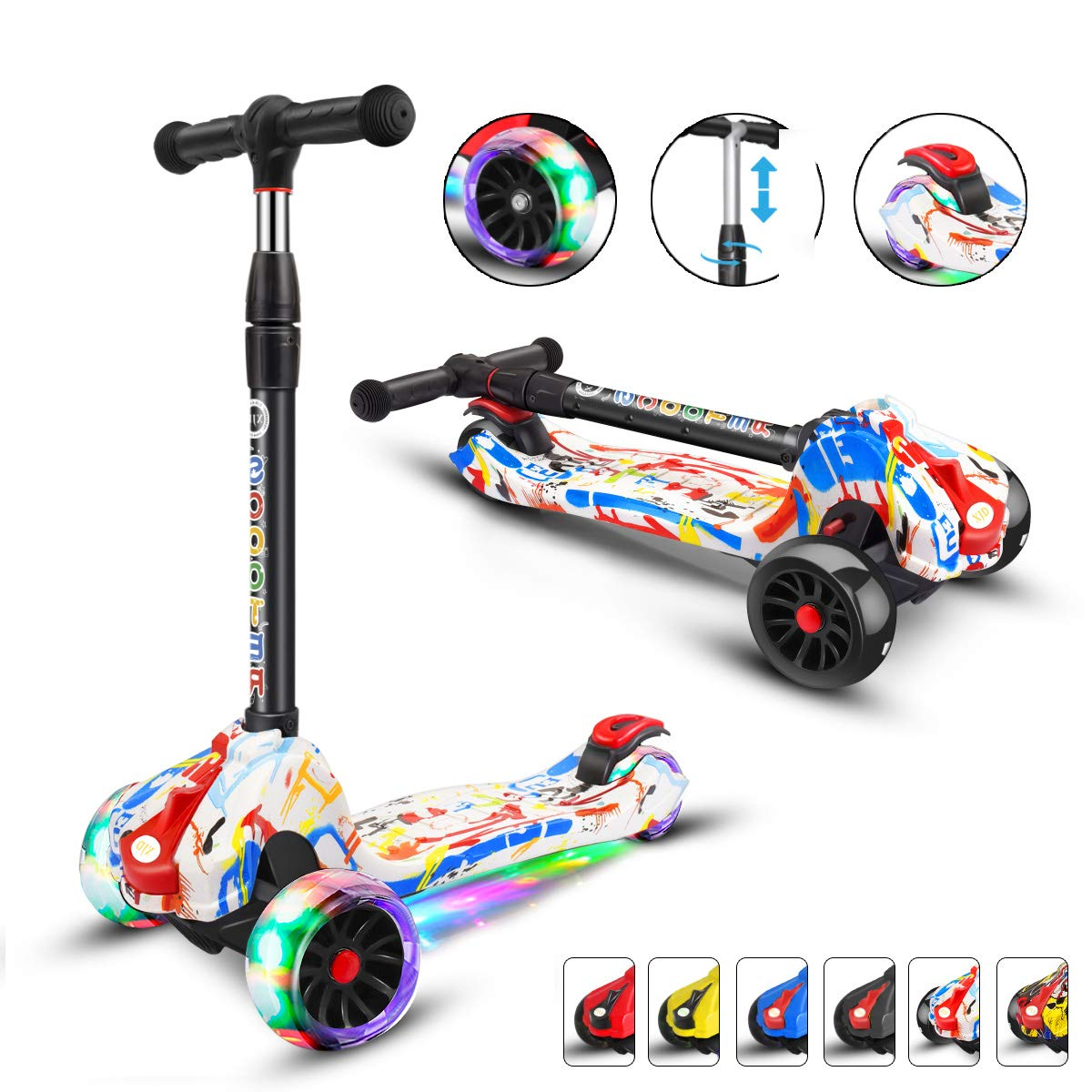 XJD Scooters for Kids Scooter 3 Wheel for Boys Girls 4 Adjustable Height Extra-Wide Deck 100% Assembled PU Flashing Wheels Toddlers Scooter for Children from 3 to 14 Years Old Graffiti by XJD