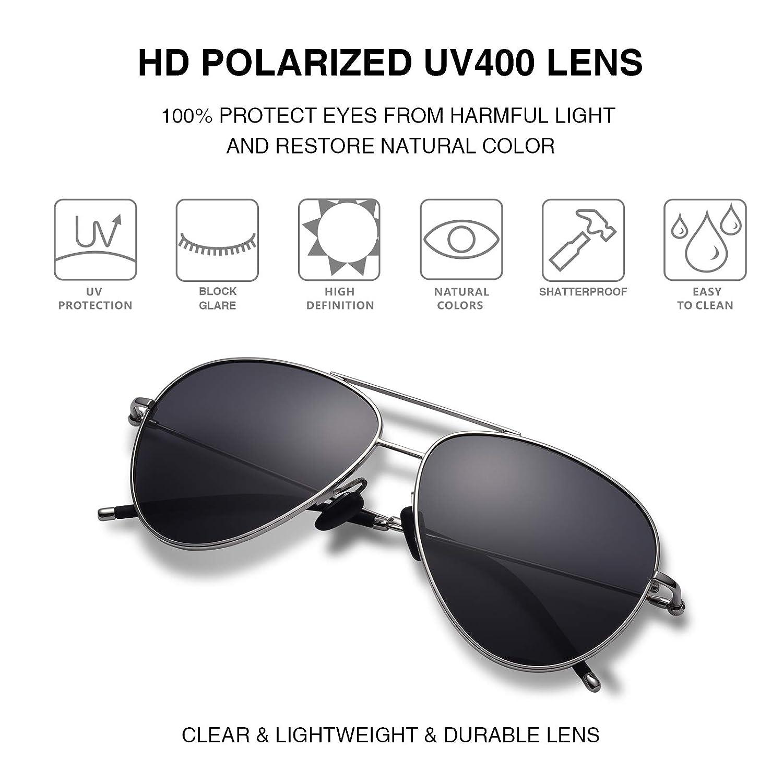 845073c561c Amazon.com  Hisea Premium Military Style Classic Aviator Sunglasses