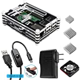 Smraza Case for Raspberry Pi 3 with Fan Cooling and Heatsinks, 5V/2.5A Power Supply, Micro USB with On/Off Switch Case for Pi 3B 2 Model B (Not include Raspberry pi board)