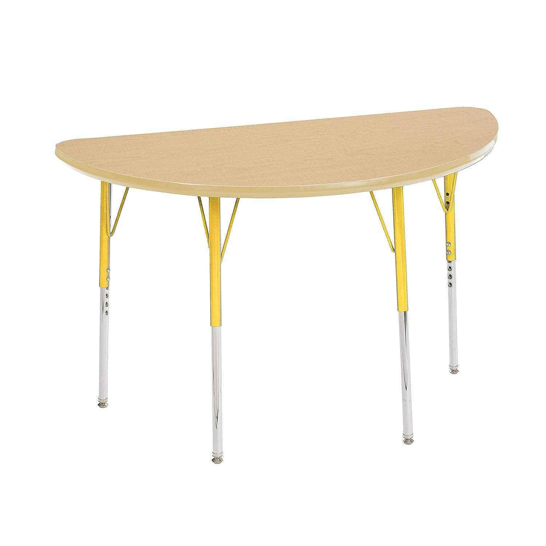Adjustable Height 19-30 inch Standard Legs w// Swivel Glides ECR4Kids Mesa Premium 24 x 48 Half Round School Activity Table Maple//Black