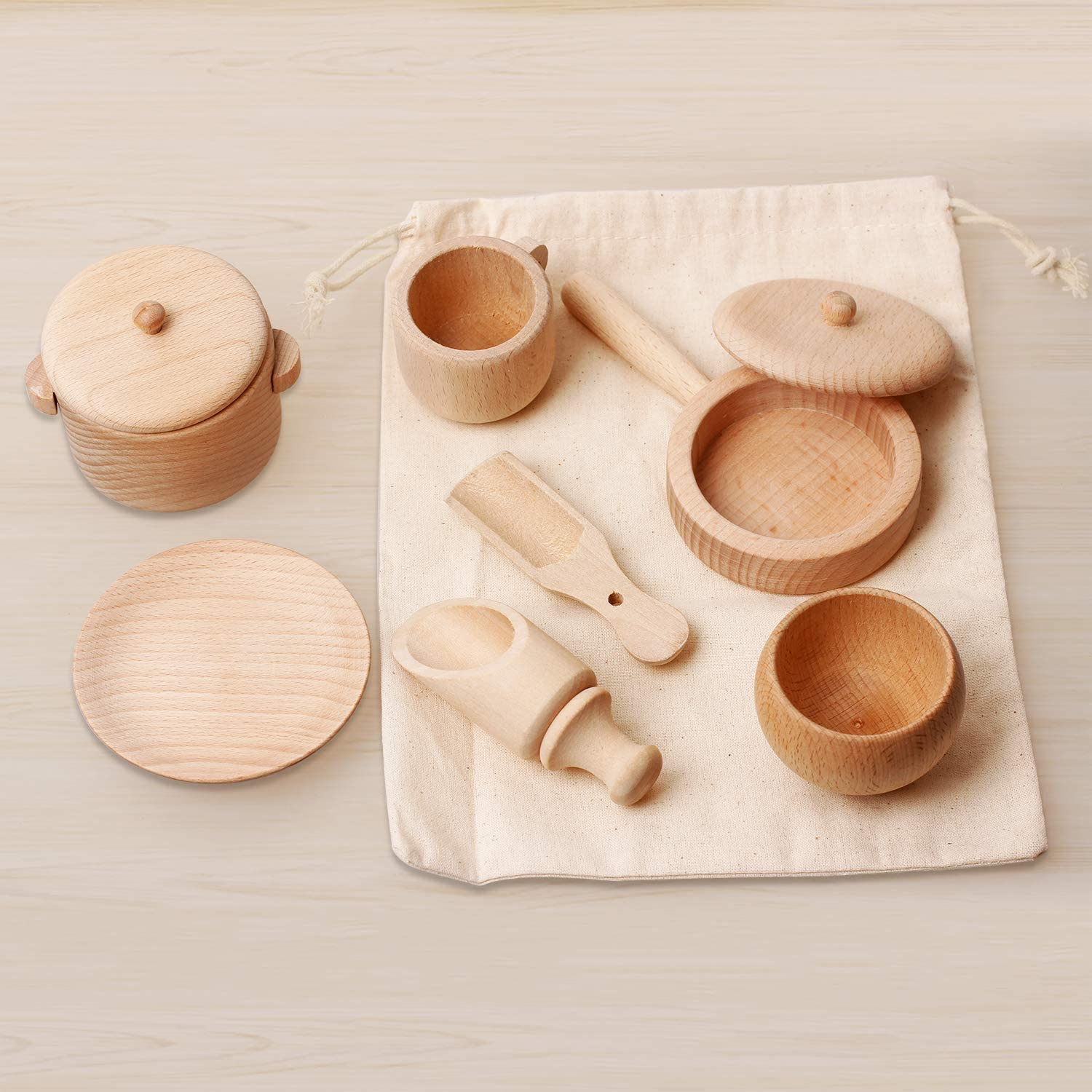 Warckon Sensory Bin Tools, Montessori Toys for Toddlers,Set of 7 Wooden Waldorf Toys Includes Wooden Scoops, Wooden Dish for Transfer Work and Fine Motor Skills Development for Kids