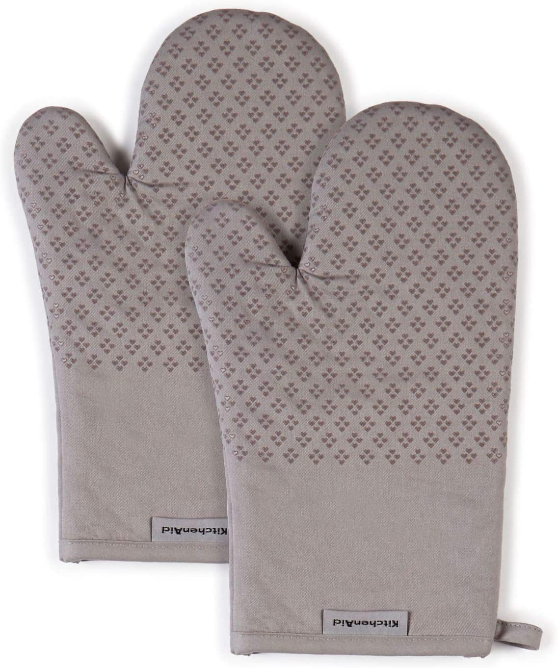 Set of 2 KitchenAid Asteroid Cotton Oven Mitts with Silicone Grip Gray 2 Count