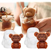Whaline 2Pcs 3D Teddy Bear Ice Cube Mold, Silicone Animal Mold, Soap Candle Mold, Ice Cube for Coffee, Milk, Tea, Candy…