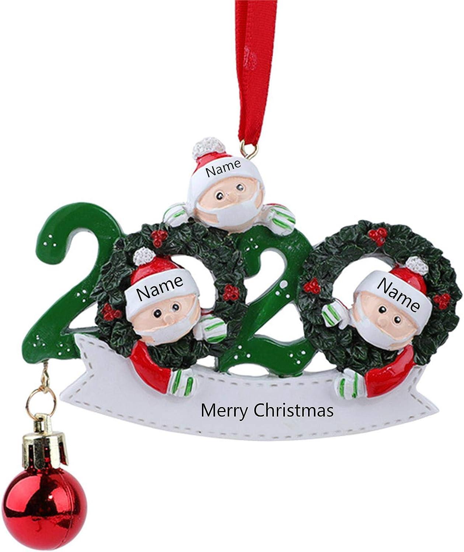 KWORK 2020 Personalized Christmas Tree Ornament 2-5 Family Members,Christmas Tree Decoration,Christmas Home Decor,Quarantine Survivor Customized Christmas Decorating Set Creative Gift(Family of 3 A)