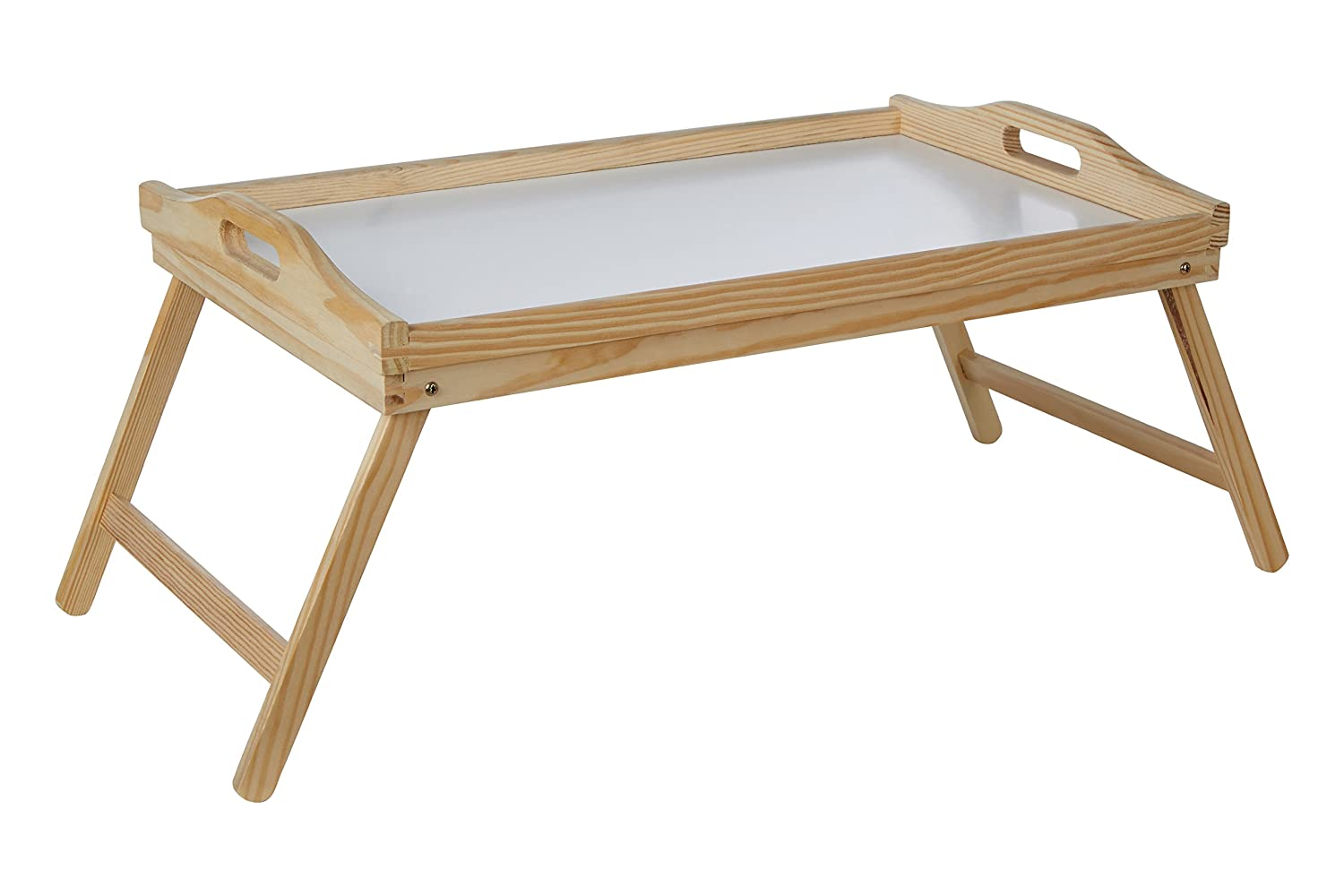 premier housewares pinewood bed tray with white top and folding legs 21 x 50 x 31 cm
