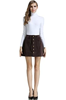 4a942ab534a8 Little Smily Women s Corduroy A-line High Waist Button Front Mini Skirt