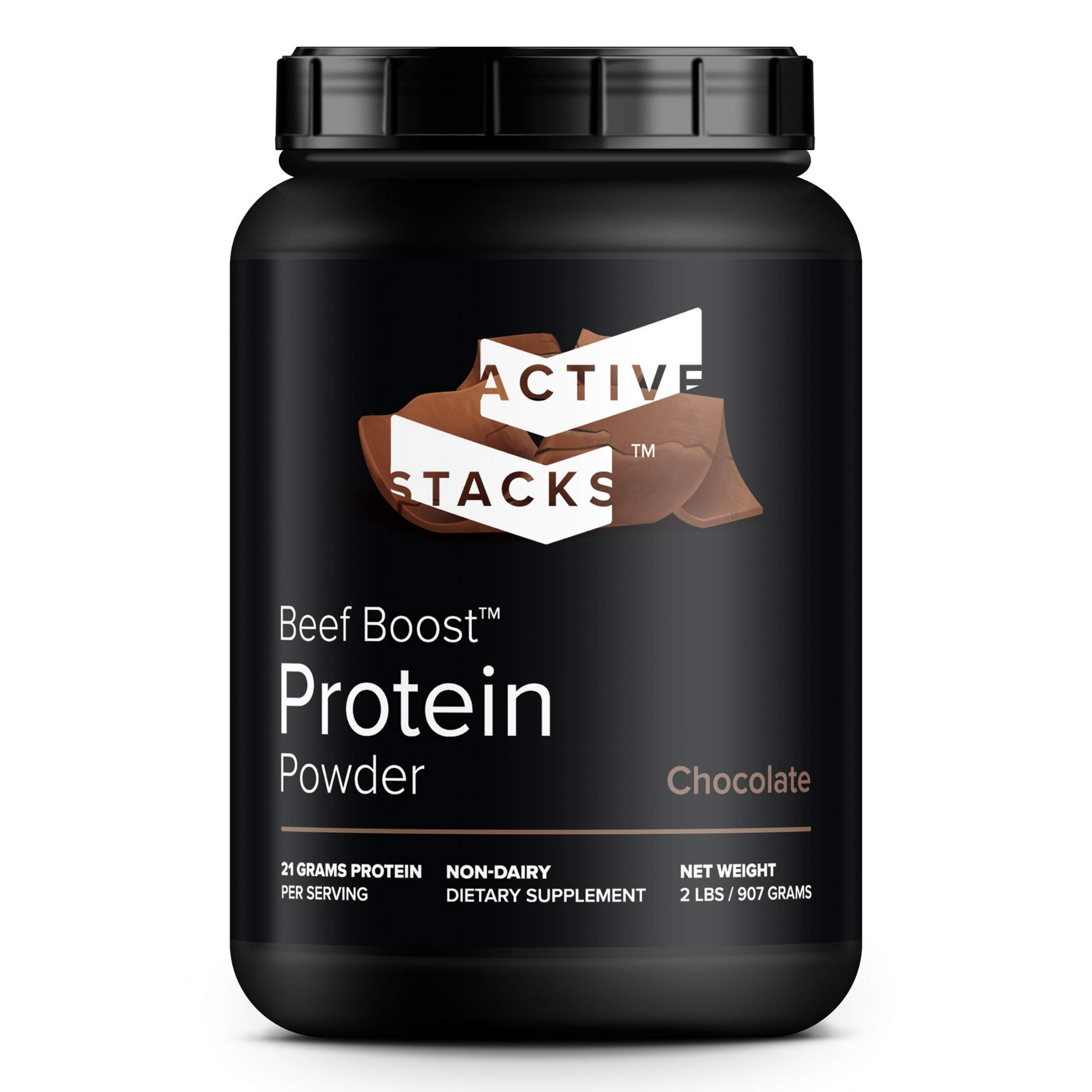 Beef Protein Powder, Chocolate - Dairy Free with Natural Collagen for Keto, Paleo, Bone Broth & Low Carb Diets, 2 Pound by Active Stacks