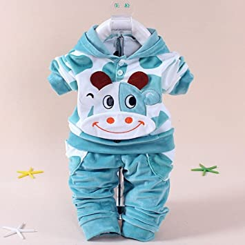 98c068df7 Amazon.com  New baby boy clothing sets suit cartoon cow velvet ...