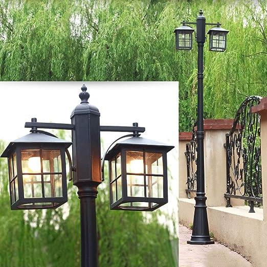 Lámpara de mástil Luz de calle negra 2*E27 Aluminio y cortina de vidrio Lámparas exteriores Resistente agua IP44 Camino Luces Altura 225CM Césped Villa Piscina Jardín Street Iluminación: Amazon.es: Iluminación